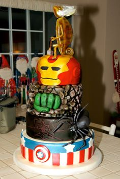 Marvel Hero Cake (Marty, our Chameleon, standing in for Thor) is also edible.