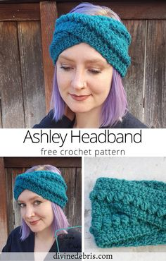 Keep those ears warm in what could be a very long winter (or chilly fall and spring seasons) with this very quick headband pattern. It's very easy to make, probably won't take more than an evening, and uses less than one skein of yearn. It's a nicely textured headband you can wear on those days you don't feel like brushing your hair :D Unique Crochet, Modern Crochet, Free Crochet, Easy Crochet Headbands, Knitting Patterns, Crochet Patterns, Crochet Projects, Crochet Tutorials, Crochet Crafts