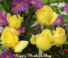 Happy mothers day yellow flowers