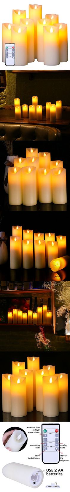 Flameless Candles Flickering Light Pillar Real Smooth Wax with Timer and 10-key Remote for Wedding,Votive,Yoga and Decoration(Set of 9)
