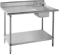 "Sink on Right 16 Gauge Advance Tabco KMS-11B-305 Stainless Steel Work Table with Sink 30"" x 60"" $900"