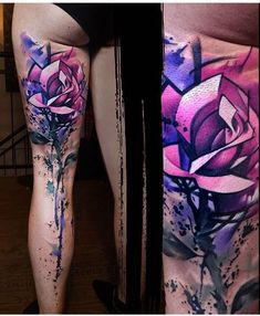 Pink & Purple Geometric Rose Tattoo By Uncle Paul Tattoo