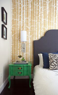Love the green night stand  From http://residencestyle.com/100-master-bedroom-ideas/
