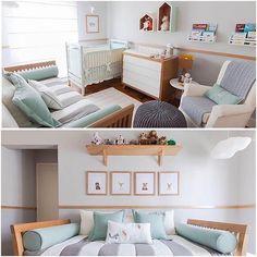 Quartinho cinza e verde Baby Bedroom, Home Bedroom, Baby Room Design, Baby Boy Nurseries, Kids And Parenting, Toddler Bed, Kids Room, Sweet Home, House Design