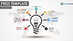 Prezi Template for presenting your creative and bright ideas.  A light bulb icon and colorful circles lighting it up.  Number each idea and zoom for the details.  Customize by adding as many ideas as needed