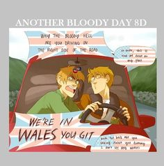 "America driving with England through the Welsh countryside. Hahahaha, America's responses though... ""I don't see any whales."" XD - Hetalia"