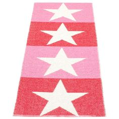 Viggo Rug 70x200, Red/Pink, Pappelina #pappelina #rugs #carpets #pink #red #stars #pinkdesign #reddesign #royaldesign #design #scandinaviandesign