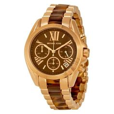 Michael Kors Bradshaw Chronograph Brown Dial Rose Gold-tone and Tortoiseshell Acetate Ladies Watch Casual Watches, Cool Watches, Watches For Men, Bradshaw Model, Stainless Steel Bracelet, Stainless Steel Case, Tortoise Shell, Fashion Watches, Michael Kors Watch