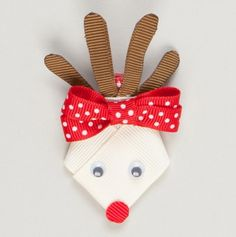 Reindeer Ribbon Hair Bow.