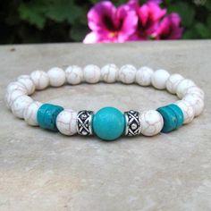 Jewelry Making Bracelets White and Blue Turquoise Yoga Bracelet, Mala Bracelet, Tibetan Healing Jewelry, Stretch Bracelet, En - Healing Bracelets, Gemstone Bracelets, Handmade Bracelets, Jewelry Bracelets, Couple Bracelets, Jewellery, Diamond Bracelets, Ankle Bracelets, Etsy Jewelry
