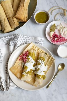 {Tamales De Rajas Con Queso} Poblano Chile Rajas Tamales With Oaxacan Cheese