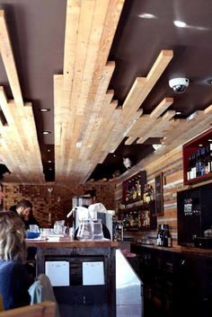 waiyinwhitney: The County General – Part 3 of Food Adventure Downtown – Ceiling Wood Plank Ceiling, Wood Ceilings, Dark Ceiling, Deco Restaurant, Restaurant Design, Ceiling Detail, Ceiling Design, Ceiling Ideas, Commercial Design