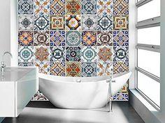 Portuguese Tiles Patterns (48 Tiles Decals) Tile Stickers - Tiles for Kitchen Backsplash or Tiles for Bathroom