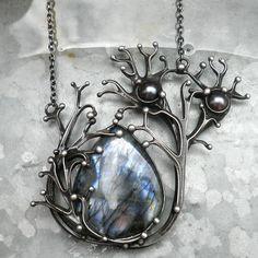 Necklace | Tereza O Designs. Tin, labradorite and pearls