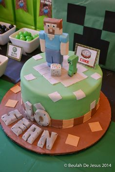 Fun cake at a Minecraft Birthday Party! See more party ideas at CatchMyParty.com!