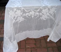 Fine Linen Tablecloth Grape Vines and Grape Clusters Embroidery and Applique Kerchief Linen Perfect for Wedding Table White on White. $85.00, via Etsy.