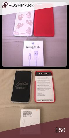 Monkey Case, Red Case, 2m USB cable For the IPhone 6s PLUS, I have a Sonix Monkey/Clear Case(originally valued at $35), Incipio thin red case(Originally valued at $20, and APPLE BRANDED 2m USB cord -originally valued at $30-(extra long so you can charge and lay in the bed at the same time 😃) You get $35 off the original total pricing of all 3. Brand new never used! Other
