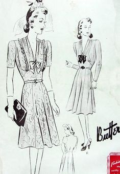 1940s  LADIES FROCK DRESS PATTERN  ATTACHED SIX GORED SKIRT BEAUTIFUL DRAPED V NECKLINE FF BUTTERICK 9405 Bust 40
