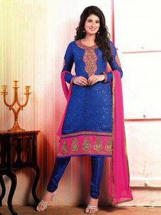 Blue Brasso Suit With Zari Embroidery Work www.saree.com