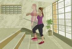 Suba rápidamente los escalones de uno en uno (con cuatro basta). Ayúdese con el ritmo de los brazos, moviéndolos de arriba (ángulo de 90º) a abajo, y pegados al costado, con mucha rapidez. Baje con cuidado y repita hasta llegar a los 30 segundos (solo cuenta el tiempo de las subidas).