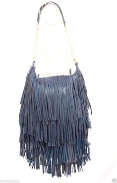 Lost Found Leather Hippie Fringe Hobo Bag Navy Blue Gold Tone Chain Purse New