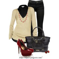 J BRAND Mid Skinny Supersoft Black Jean + JAMES PERSE Black Cotton Jersey 3/4 Sleeve Shirt + Shimmer Sweater + Long Epoxy Link Necklace - Red + BURBERRY large buckle tote + BLINK JOANNA Ruby Patent Pumps + Ruby Slippers Post Earrings in Antique Bronze +