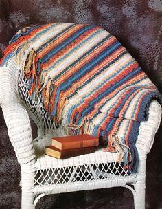 Y488 Crochet PATTERN ONLY Indian Stripes Afghan by BeadedBundles, $1.95