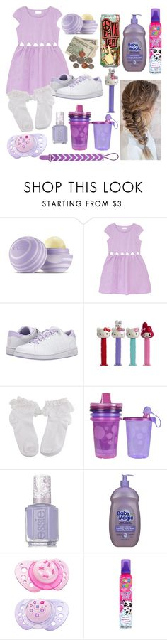 """""""ddlg -purple-"""" by princess-llyssa ❤ liked on Polyvore featuring Eos, K-Swiss, Hello Kitty, The First Years, Essie and CHICCO"""