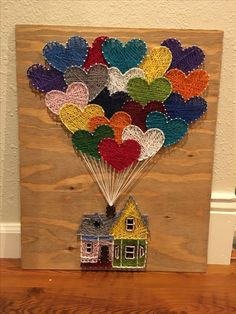 Or have kids paint wooden hearts and put on board with cute house or similar woo. , Or have kids paint wooden hearts and put on board with cute house or similar wood decal… Up house string art String Art Templates, String Art Patterns, String Art Tutorials, Art Ideas For Teens, Nail String Art, Disney String Art, Painting For Kids, Painting Art, Heart Painting