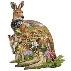 """Kangaroo Kingdom 300 Large Piece Shaped Jigsaw Puzzle, $10.99, #47295    Our mama kangaroo and her little joey feature the amazing Australian outback filled with kangaroos playing and running in their flatland home. Beautifully illustrated by artist Jack Williams, our shaped puzzle is available in two piece counts, each measuring 20"""" x 27""""."""