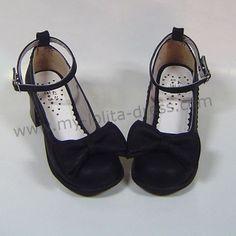 Black PU Bow Lolita Shoes $45.99-Princess Shoes - My Lolita Dress