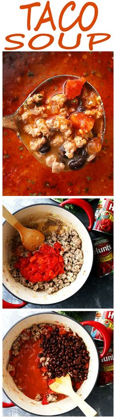 Taco Soup Recipe - All you will need is about 30 minutes for this delicious and comforting one pot Taco Soup packed with taco meat, @huntschef tomatoes, and beans! SO easy and great for weeknights! #ad #HuntsDifference