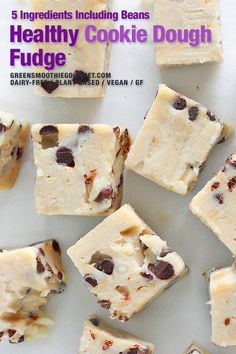 Cookie Dough Fudge. A healthy cookie dough fudge recipe that is SO easy to make, dairy-free and a delicious a slow burning energizing snack. Dairy-free, gluten-free and mixed up quickly with just 5 main ingredients. #cookiedough #cookiedoughfudge Healthy Vegan Desserts, Vegan Dessert Recipes, Vegan Sweets, Dairy Free Recipes, Healthy Baking, Cheesecake Recipes, Easy Desserts, Baking Recipes, Vegan Food