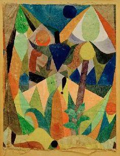 """peinture allemande : Paul Klee, 1918,  """"Mildtropische Landschaft"""", feuillage, 1910s"""