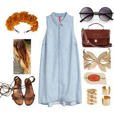"""Little Denim Dress"" by zerouv on Polyvore: Designer Medium Round Metal Fashion Sunglasses 8570"