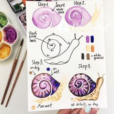 """Want to learn how to doodle in your bullet journal? These 50 doodle doodle """"how-to""""'s to make doodles in your bujo easy and simple to draw Watercolor Painting Techniques, Watercolour Tutorials, Watercolor Drawing, Watercolor Animals, Watercolor Flowers, Painting & Drawing, Watercolor Water, Prima Watercolor, Watercolor Brushes"""