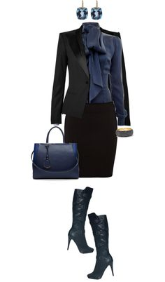 """""""Working Blue and Black"""" by angela-windsor on Polyvore"""