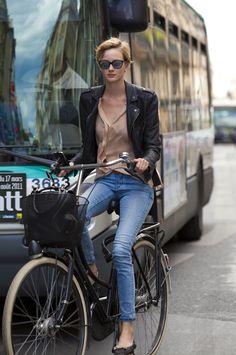 Silk Shirt, Leather Jacket, Jeans & Flats