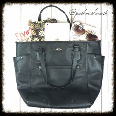 """Coach Black Grainy Leather Micke Tote Gorgeous soft leather bag. 100% authentic.  Come with gift receipt. Inside zip, cell phone and multifunction pockets; Outside zip pocket & 2 slip pockets Zip top closure, satin lining Double leather handles with 7.75"""" drop Measures: 17.75""""L x 13.5""""H x 4.75""""W Coach Bags Totes"""
