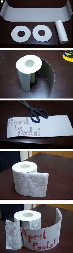 You can also replace the toilet paper in your kid's bathroom with this DIY masterpiece. | 37 Brilliant April Fools' Day Pranks Your Kids Will Totally Fall For