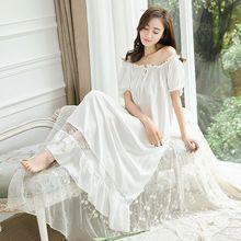 Vintage Prinses Nachtjapon Pyjama vrouwen Kant Ruches Nachtkleding. Lady Royal Lange Nachthemd Lolita Pyjamas Loungewear Nachtkleding(China)