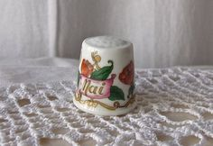 Vintage Porcelain Thimble Mai Germany Sewing Room Thimble