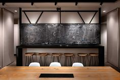 Dual purpose breakfast bar/brainstorm wall (Chalkboards in the conference room are there for brainstorming ideas. They also hide the kitchen. The chalkboards can be raised via a pulley to make way for a bar between the kitchen and conference room.  ICRAVE-Office-8a-kitchen-chalkboard