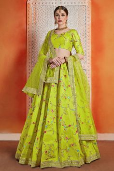 Neon green lehenga choli with dupatta. Work - Sequins, thread and zari. The product can be customized up to To complete the look matching choli and dupatta is available with this p Bridal Lehenga Online, Lehenga Choli Online, Bridal Lehenga Choli, Indian Lehenga, Silk Lehenga, Kurta Lehenga, Lehenga Wedding, Lengha Dress, Party Wear Lehenga