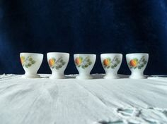 A set of 5 french vintage Arcopal milk glass egg by Frenchidyll, $10.00. +11 for shipping
