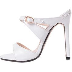 White Pu Open Toe Crossed Strap Stiletto Mule Heels (£28) ❤ liked on Polyvore featuring shoes, pumps, white, white pumps, white open toe shoes, open toe pumps, open toe shoes and white mules
