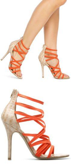Pop of Orange Strappy Heels ♥