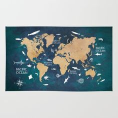 Amazon society6 another vintage world map rug 4 x 6 mj amazon society6 world map oceans life blue rug 4 x 6 gumiabroncs Images