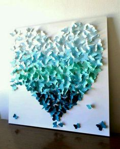 Butterfly Heart Wall Art in Aqua-Teal Ombre by Ron&Noy -LIMITED EDITION- Modern Statement Art for Home Wedding Gift Anniversary Nursery (gift ideas with pictures diy) Metal Tree Wall Art, Diy Wall Art, Diy Art, Wall Decor, Origami Butterfly, Butterfly Wall Art, Paper Art, Paper Crafts, Diy Crafts