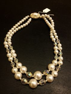 Vintage Faux Pearl Necklace with Czech Crystals $18.00